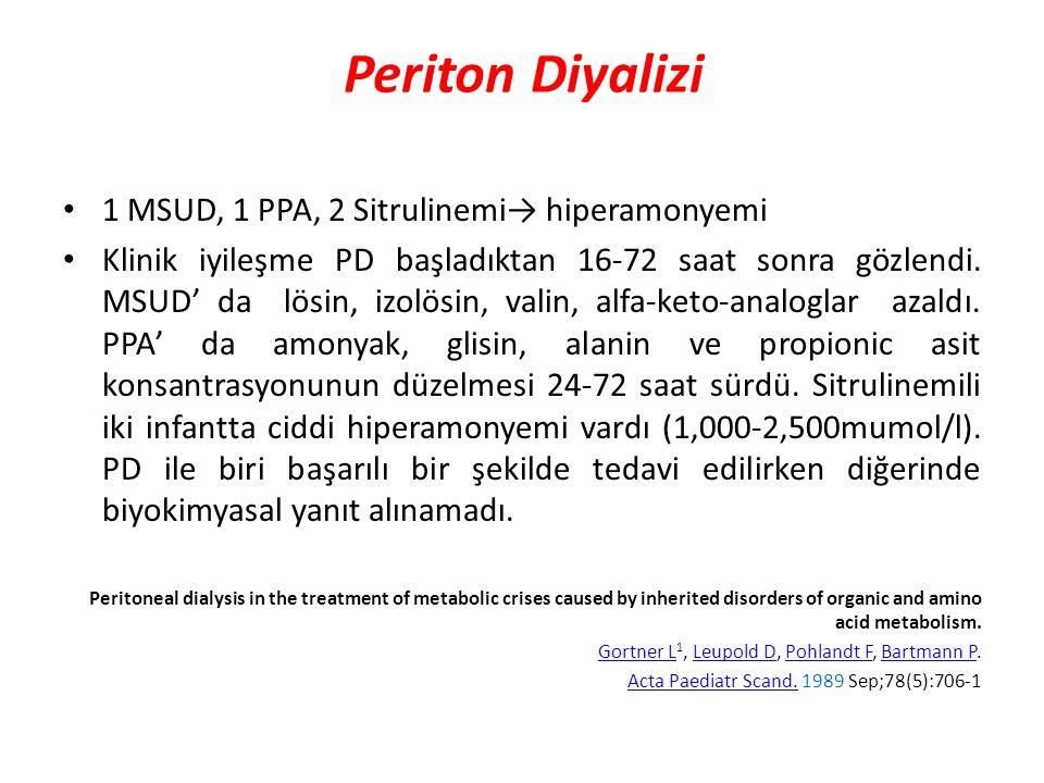 Periton Diyalizi 1 MSUD, 1 PPA, 2 Sitrulinemi→ hiperamonyemi