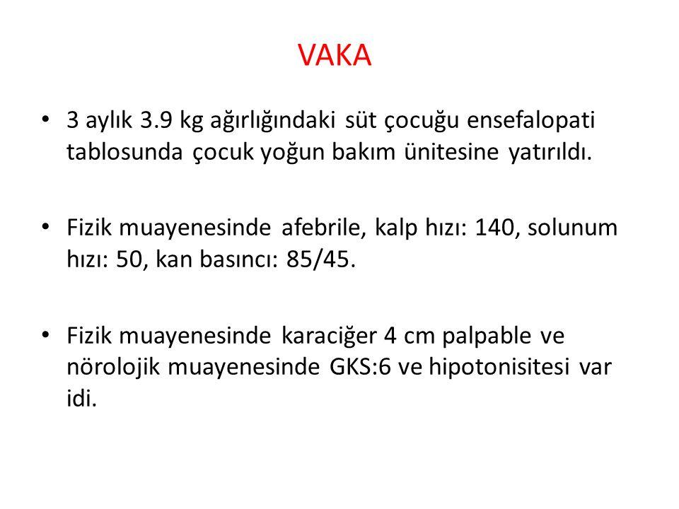 VAKA 3 aylık 3.9 kg ağırlığındaki süt çocuğu ensefalopati tablosunda çocuk yoğun bakım ünitesine yatırıldı.