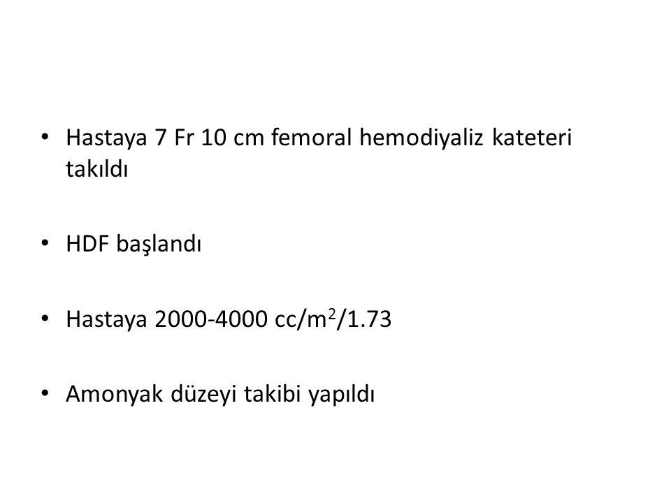 Hastaya 7 Fr 10 cm femoral hemodiyaliz kateteri takıldı