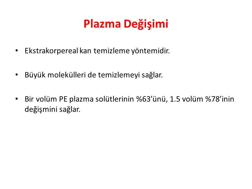 Plazma Değişimi Ekstrakorpereal kan temizleme yöntemidir.