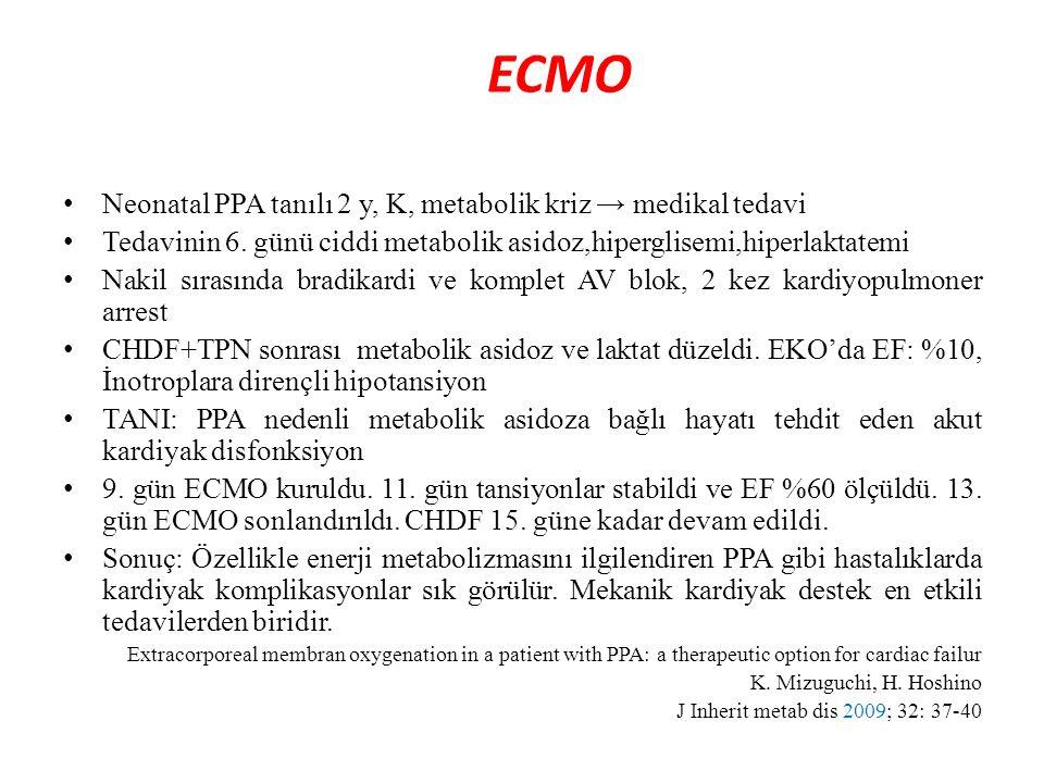 ECMO Neonatal PPA tanılı 2 y, K, metabolik kriz → medikal tedavi