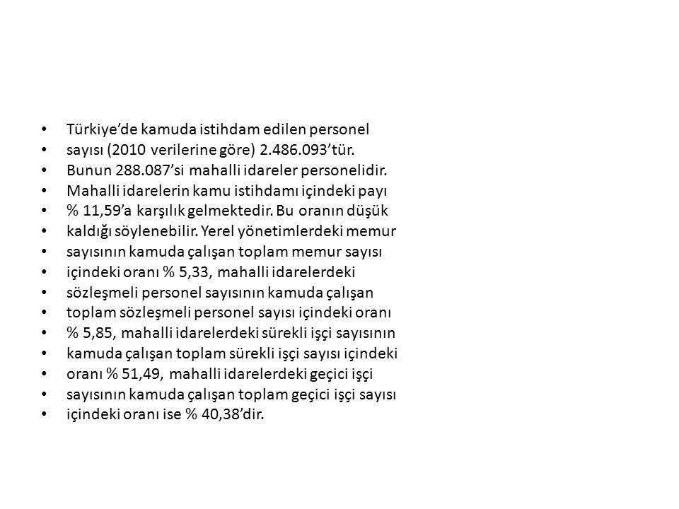 Türkiye'de kamuda istihdam edilen personel