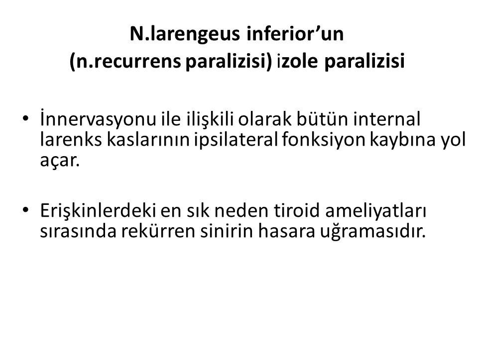 N.larengeus inferior'un (n.recurrens paralizisi) izole paralizisi