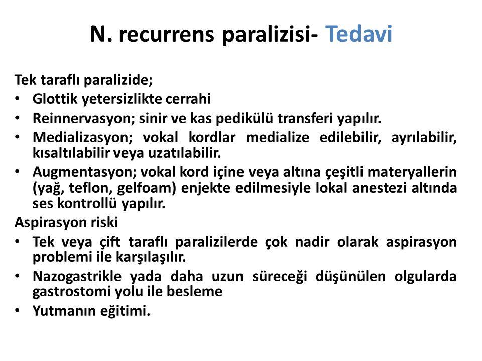N. recurrens paralizisi- Tedavi