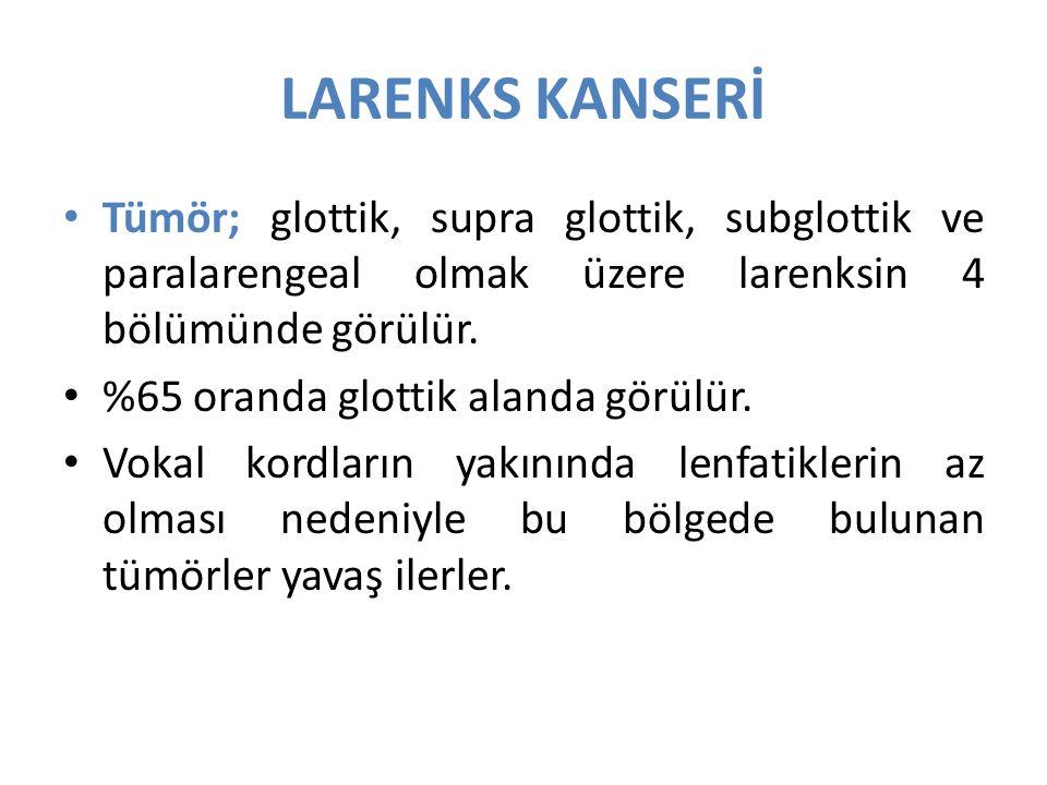 LARENKS KANSERİ Tümör; glottik, supra glottik, subglottik ve paralarengeal olmak üzere larenksin 4 bölümünde görülür.