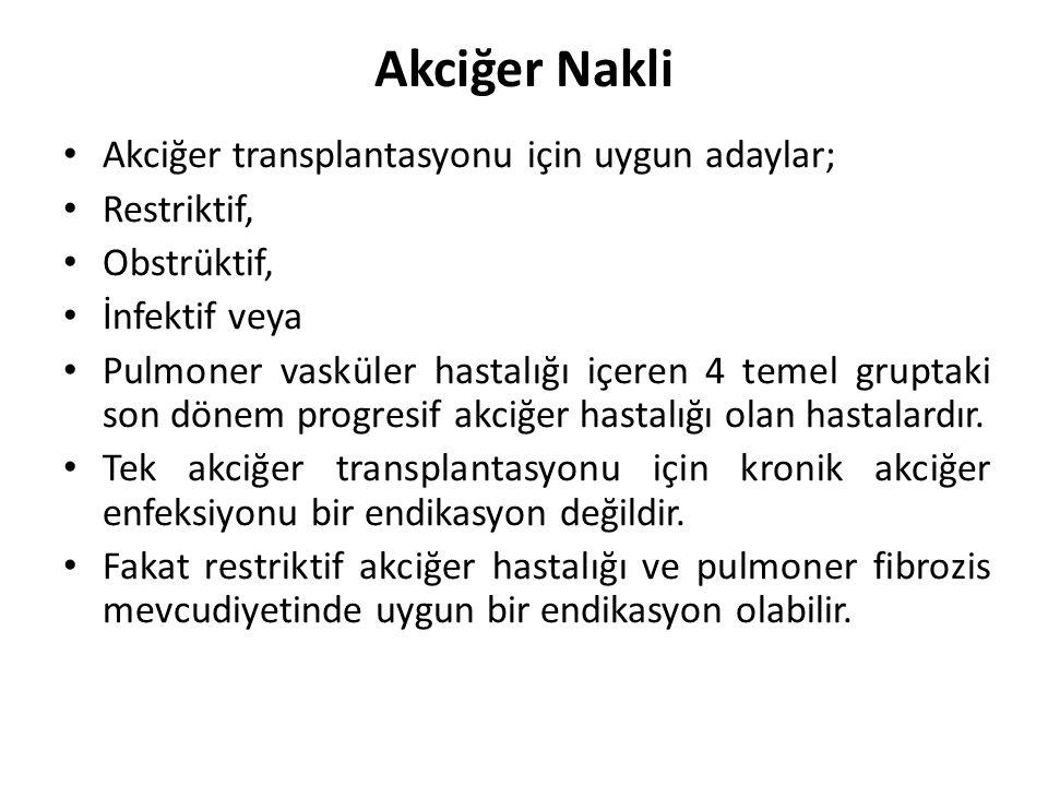 Akciğer Nakli Akciğer transplantasyonu için uygun adaylar; Restriktif,