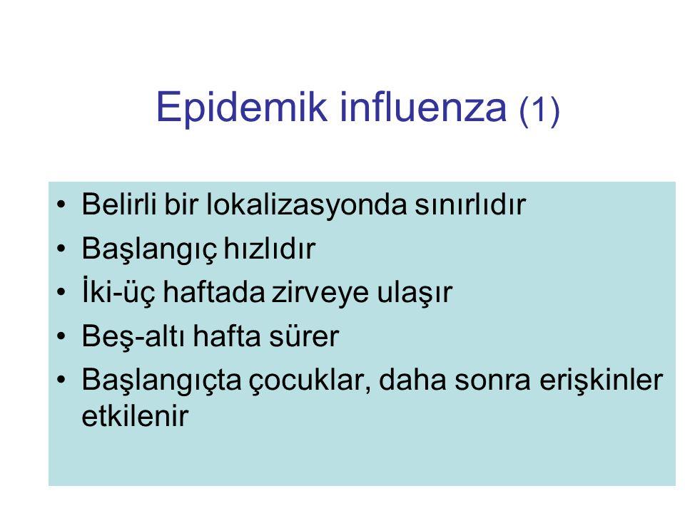Epidemik influenza (1) Belirli bir lokalizasyonda sınırlıdır
