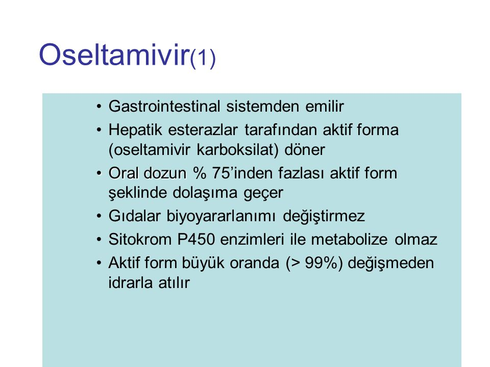 Oseltamivir(1) Gastrointestinal sistemden emilir