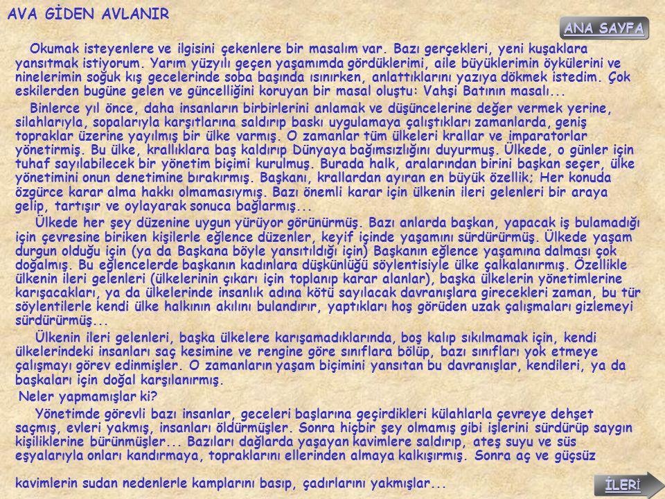 AVA GİDEN AVLANIR ANA SAYFA