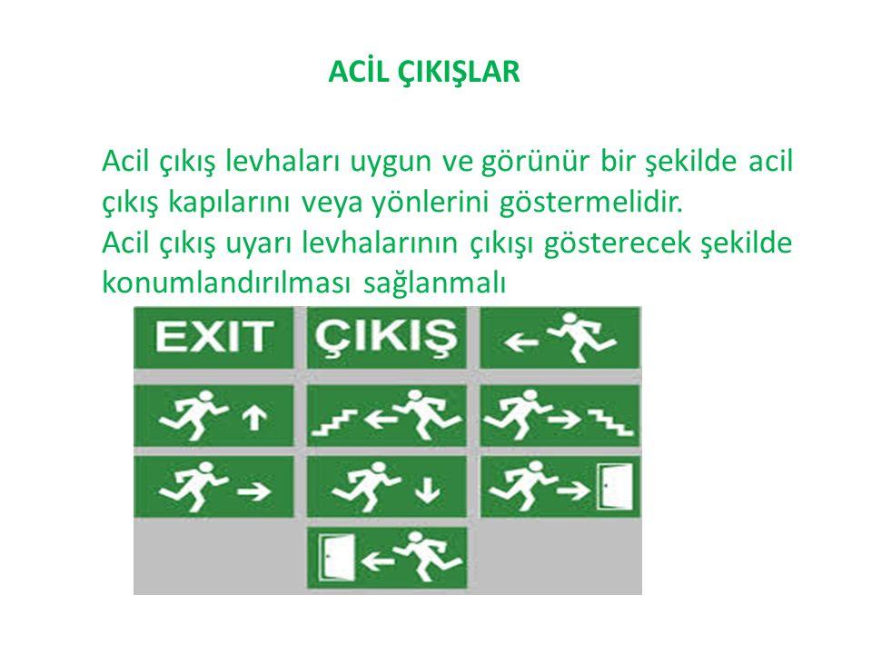 ACİL ÇIKIŞLAR Acil çıkış levhaları uygun ve görünür bir şekilde acil çıkış kapılarını veya yönlerini göstermelidir.