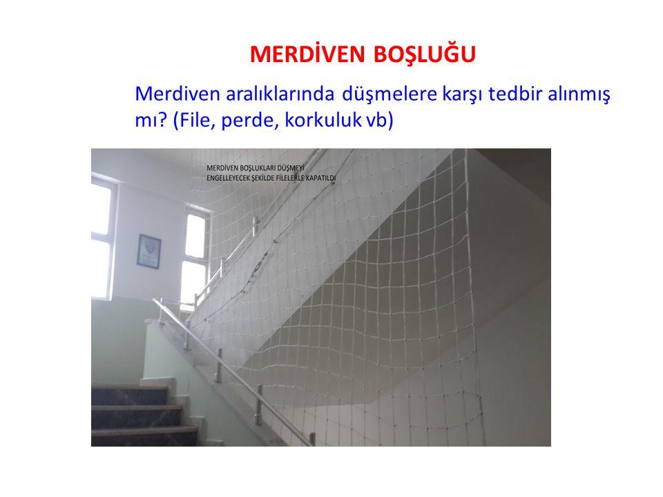 MERDİVEN BOŞLUĞU Merdiven aralıklarında düşmelere karşı tedbir alınmış mı.
