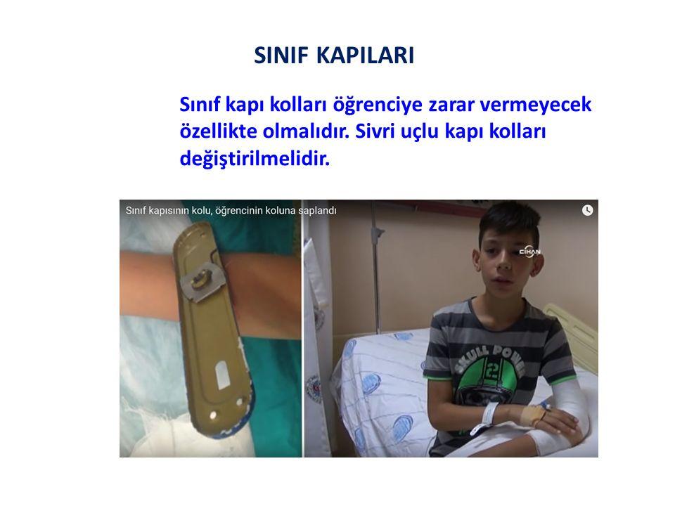 SINIF KAPILARI Sınıf kapı kolları öğrenciye zarar vermeyecek özellikte olmalıdır.