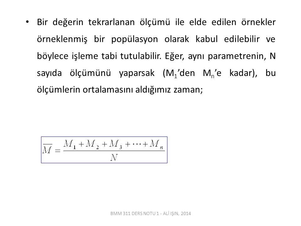 Bir değerin tekrarlanan ölçümü ile elde edilen örnekler örneklenmiş bir popülasyon olarak kabul edilebilir ve böylece işleme tabi tutulabilir. Eğer, aynı parametrenin, N sayıda ölçümünü yaparsak (M1'den Mn'e kadar), bu ölçümlerin ortalamasını aldığımız zaman;