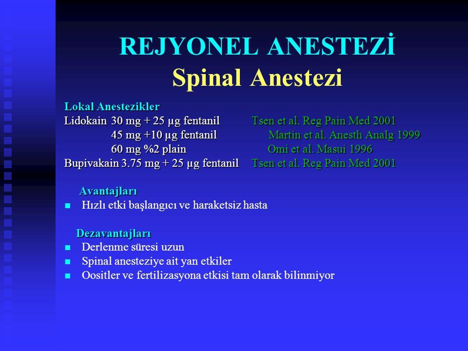 REJYONEL ANESTEZİ Spinal Anestezi