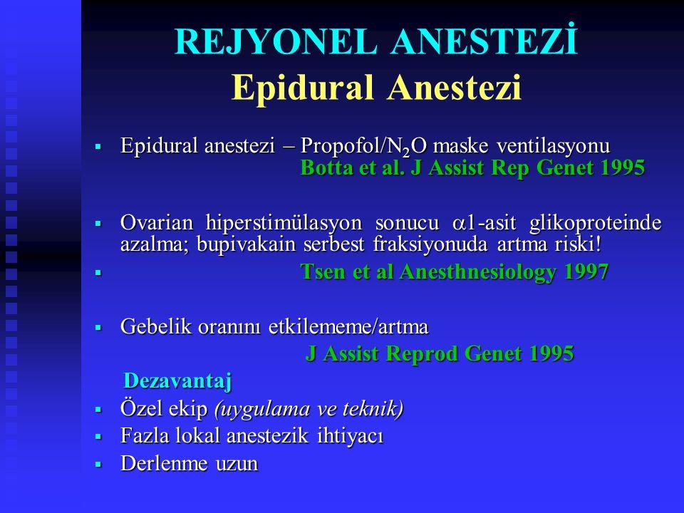 REJYONEL ANESTEZİ Epidural Anestezi