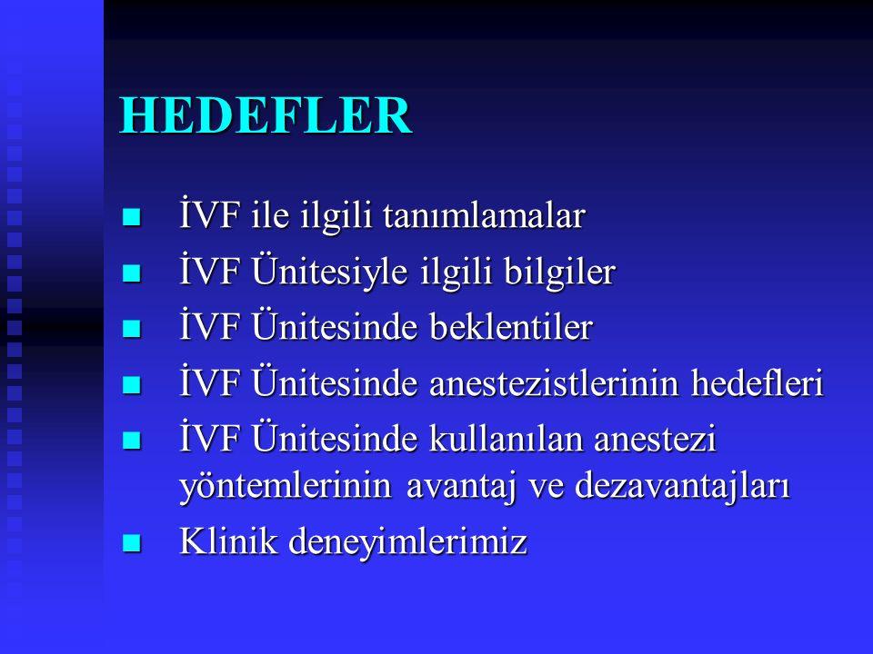 HEDEFLER İVF ile ilgili tanımlamalar İVF Ünitesiyle ilgili bilgiler