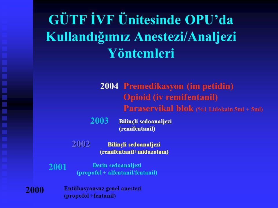 GÜTF İVF Ünitesinde OPU'da Kullandığımız Anestezi/Analjezi Yöntemleri