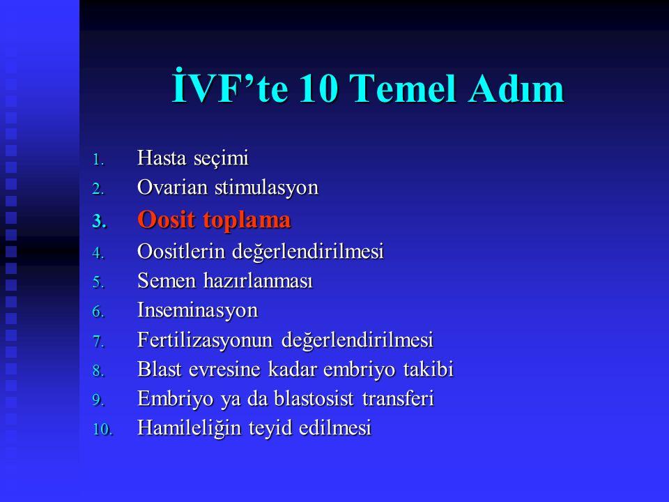 İVF'te 10 Temel Adım Oosit toplama Hasta seçimi Ovarian stimulasyon
