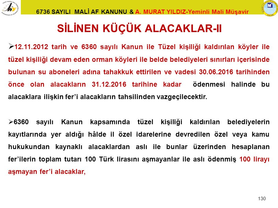 SİLİNEN KÜÇÜK ALACAKLAR-II