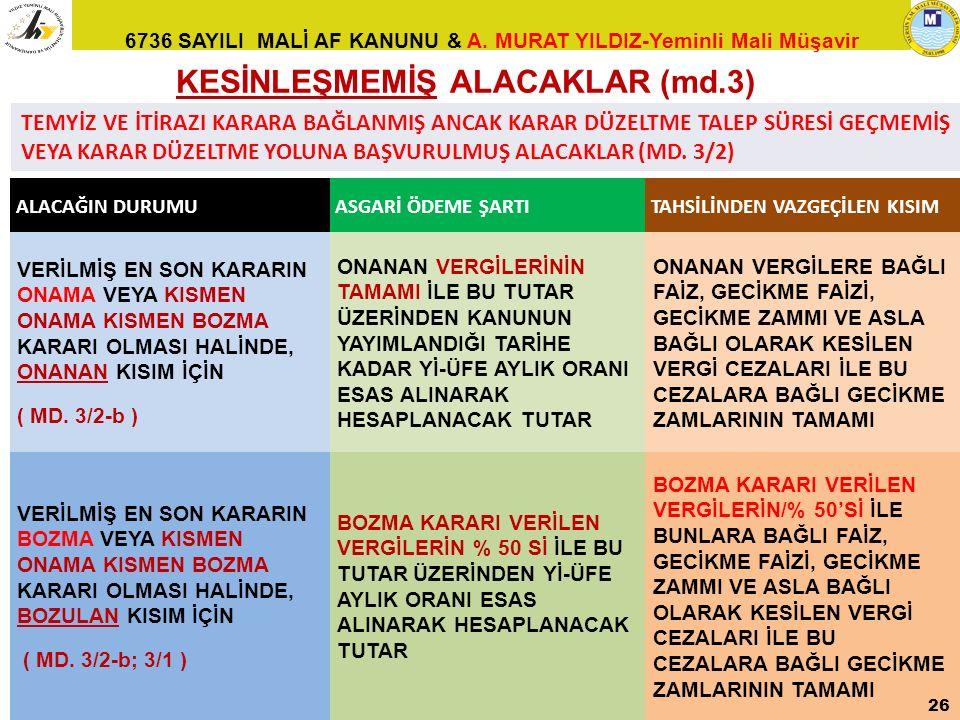 KESİNLEŞMEMİŞ ALACAKLAR (md.3)