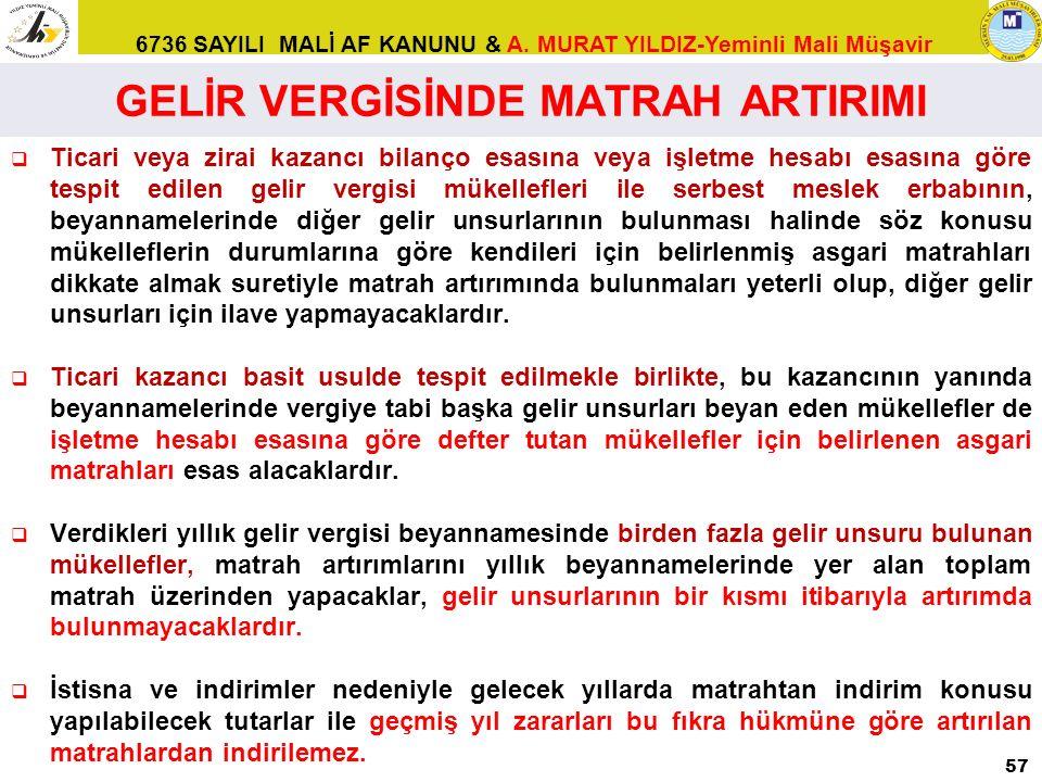 GELİR VERGİSİNDE MATRAH ARTIRIMI