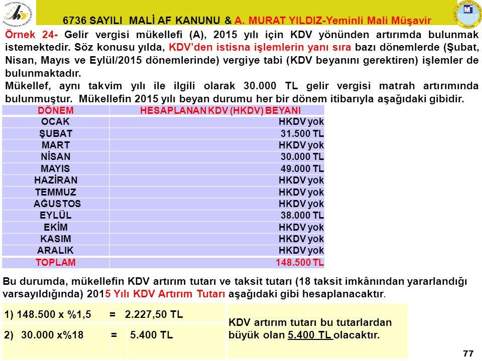 KDV artırım tutarı bu tutarlardan büyük olan 5.400 TL olacaktır. 2)