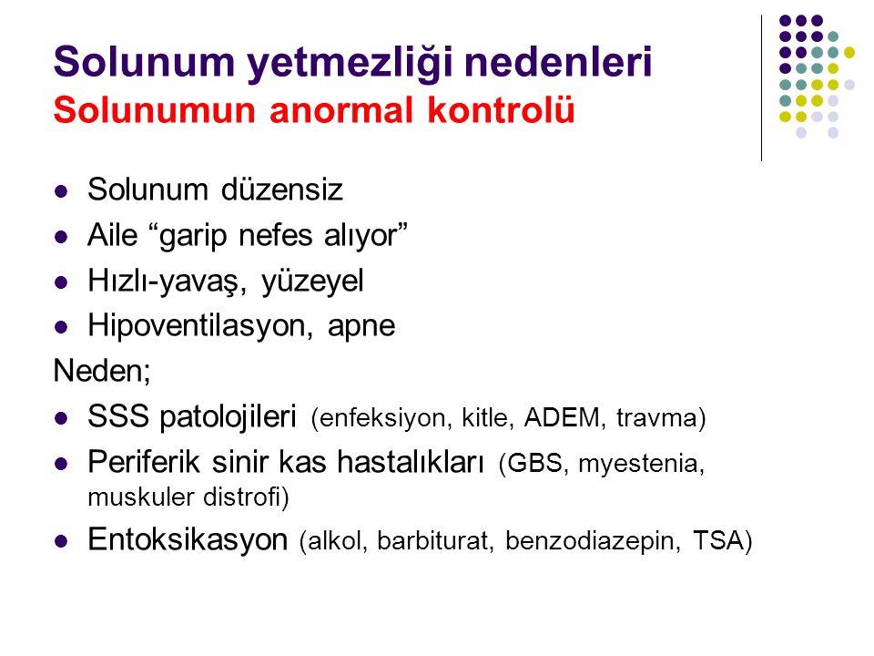 Solunum yetmezliği nedenleri Solunumun anormal kontrolü
