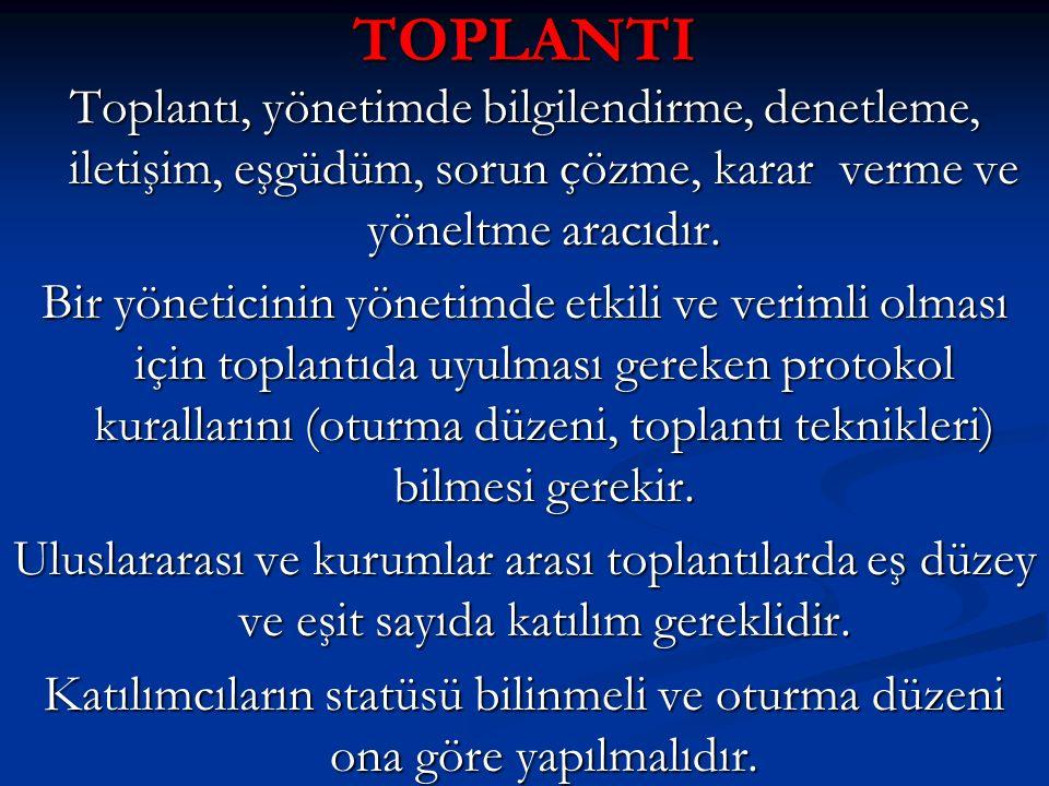 TOPLANTI Toplantı, yönetimde bilgilendirme, denetleme, iletişim, eşgüdüm, sorun çözme, karar verme ve yöneltme aracıdır.