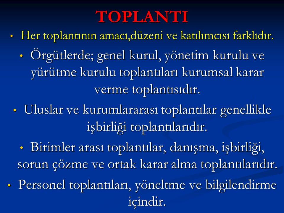 TOPLANTI Her toplantının amacı,düzeni ve katılımcısı farklıdır.