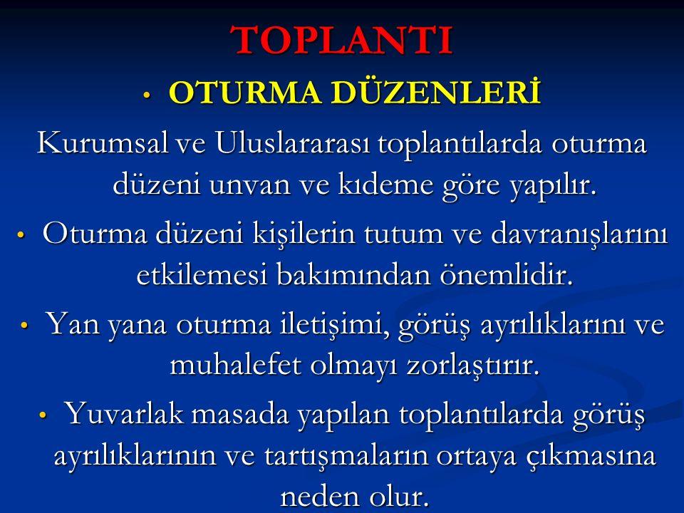 TOPLANTI OTURMA DÜZENLERİ