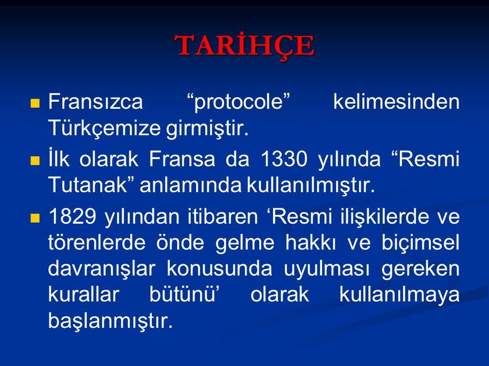 TARİHÇE Fransızca protocole kelimesinden Türkçemize girmiştir.