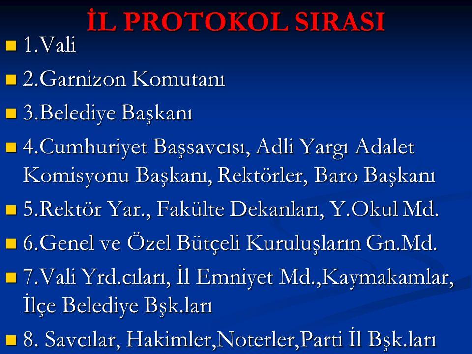 İL PROTOKOL SIRASI 1.Vali 2.Garnizon Komutanı 3.Belediye Başkanı