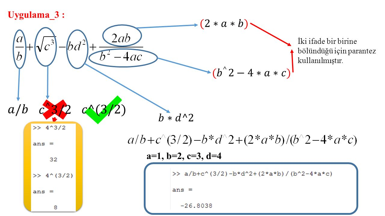 𝑎/𝑏 𝑐 ^ 3/2 𝑐^(3/2) (2∗𝑎∗𝑏) (𝑏 ^ 2−4∗𝑎∗𝑐) 𝑏∗𝑑^2 Uygulama_3 :