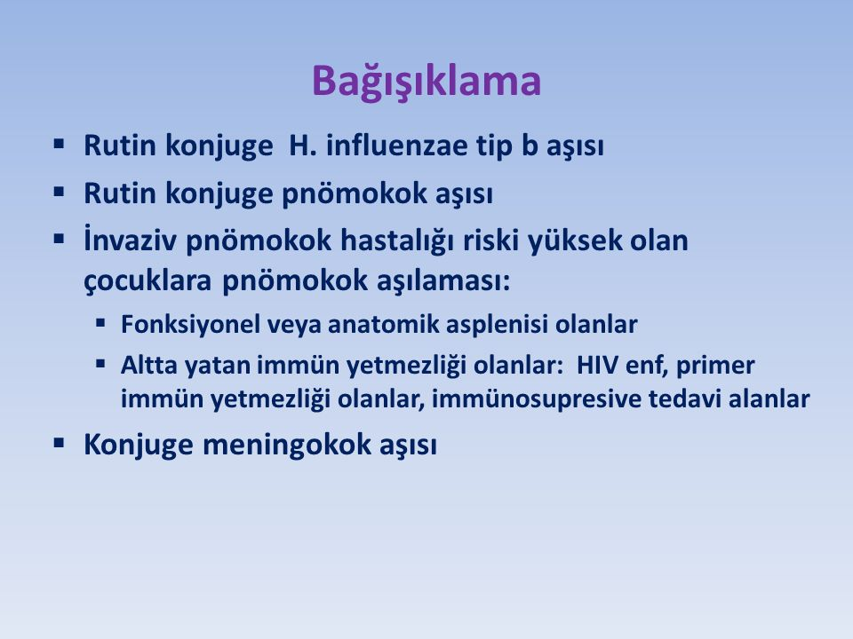 Bağışıklama Rutin konjuge H. influenzae tip b aşısı