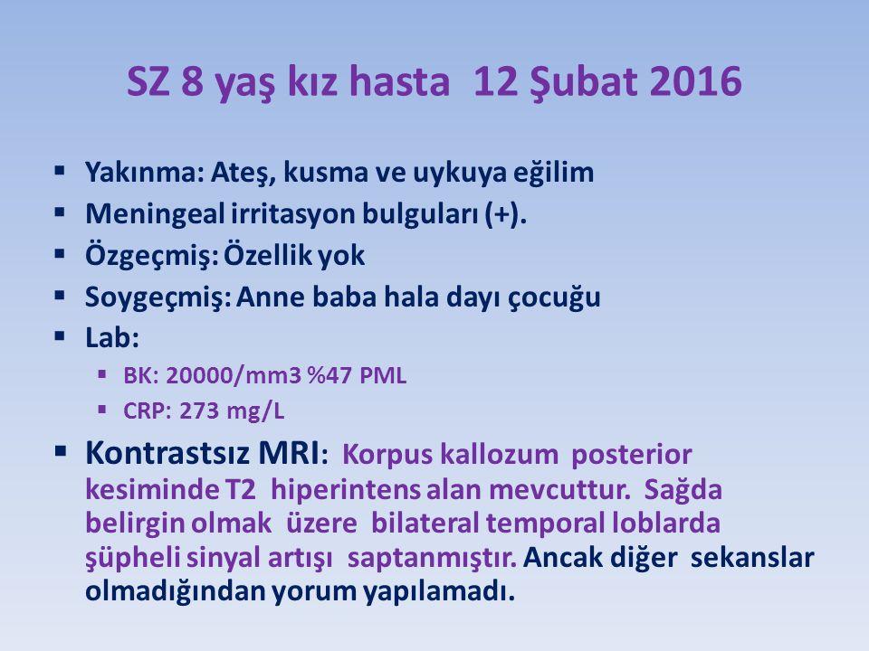 SZ 8 yaş kız hasta 12 Şubat 2016 Yakınma: Ateş, kusma ve uykuya eğilim. Meningeal irritasyon bulguları (+).
