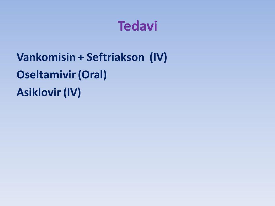 Tedavi Vankomisin + Seftriakson (IV) Oseltamivir (Oral) Asiklovir (IV)