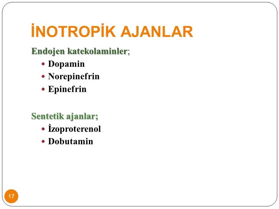 İNOTROPİK AJANLAR Endojen katekolaminler; Dopamin Norepinefrin