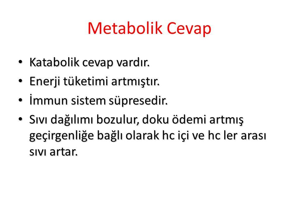 Metabolik Cevap Katabolik cevap vardır. Enerji tüketimi artmıştır.