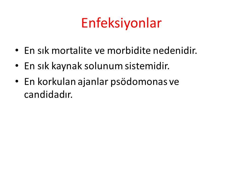 Enfeksiyonlar En sık mortalite ve morbidite nedenidir.