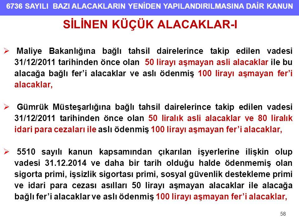 SİLİNEN KÜÇÜK ALACAKLAR-I
