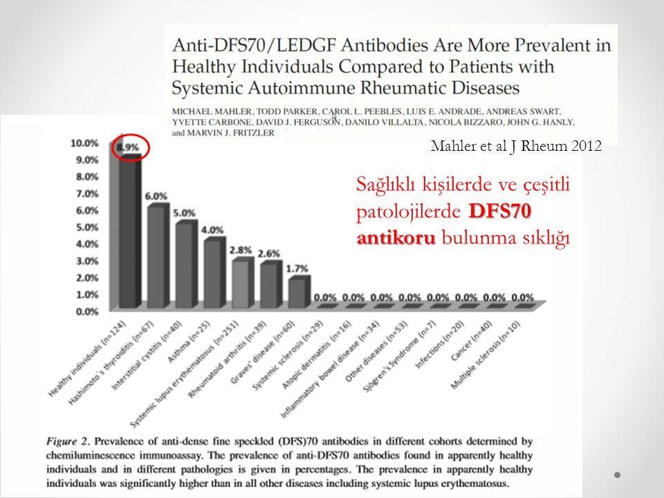 Mahler et al J Rheum 2012 Sağlıklı kişilerde ve çeşitli patolojilerde DFS70 antikoru bulunma sıklığı.