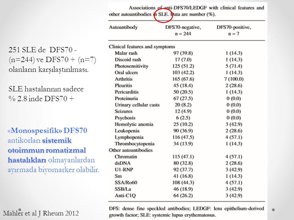 SLE hastalarının sadece % 2.8 inde DFS70 +