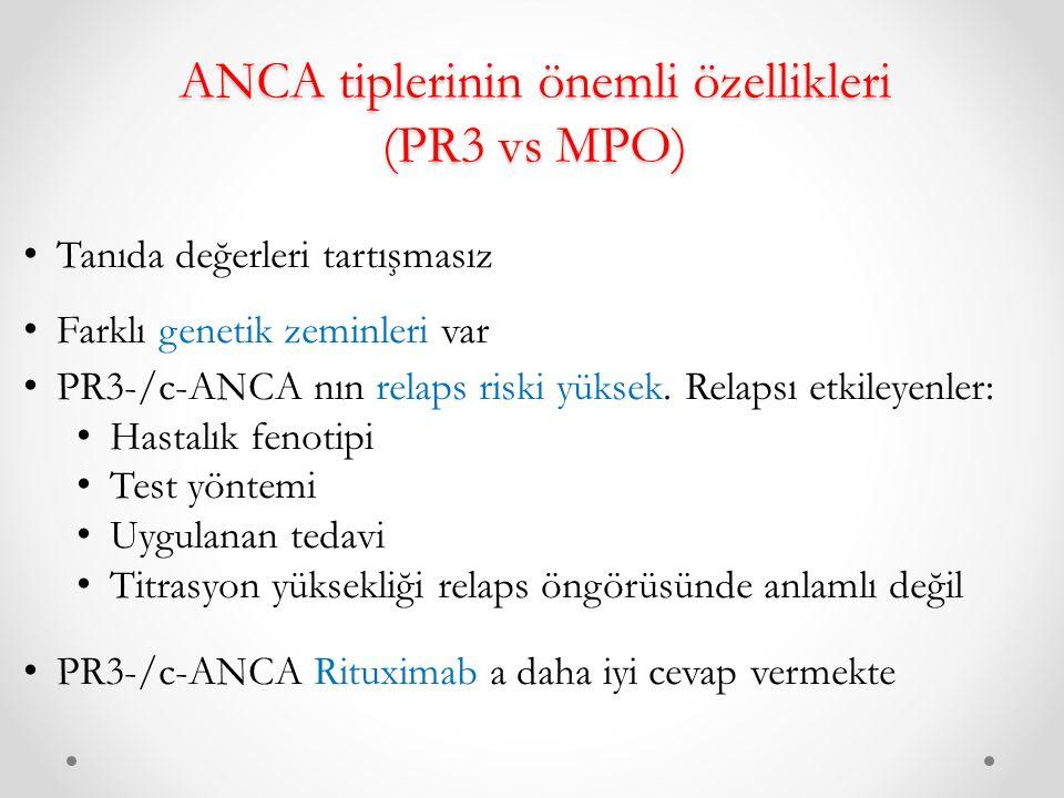 ANCA tiplerinin önemli özellikleri (PR3 vs MPO)