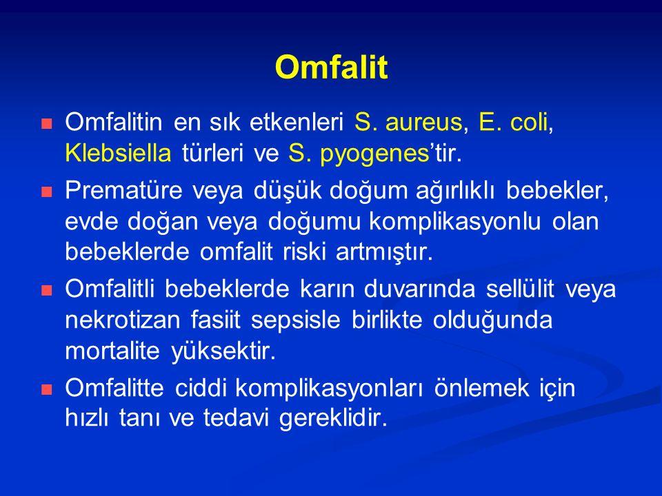 Omfalit Omfalitin en sık etkenleri S. aureus, E. coli, Klebsiella türleri ve S. pyogenes'tir.