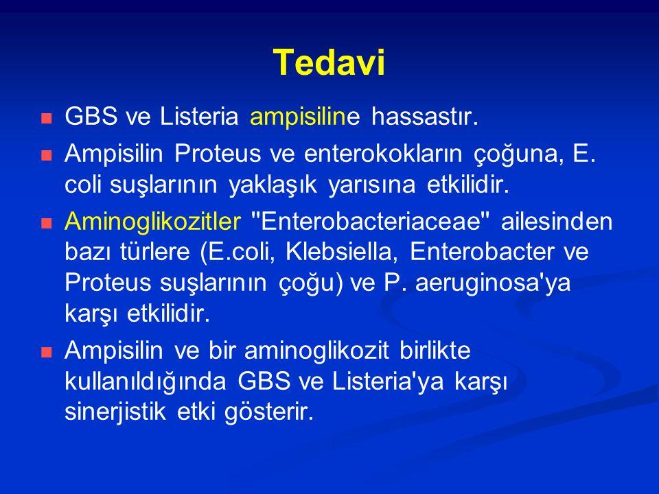 Tedavi GBS ve Listeria ampisiline hassastır.