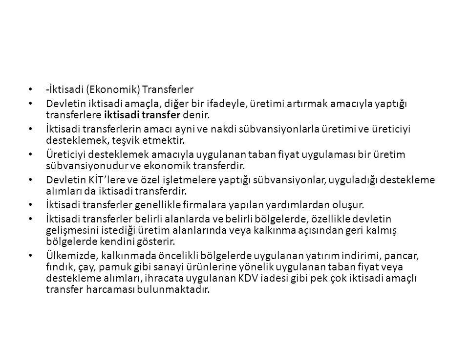 -İktisadi (Ekonomik) Transferler