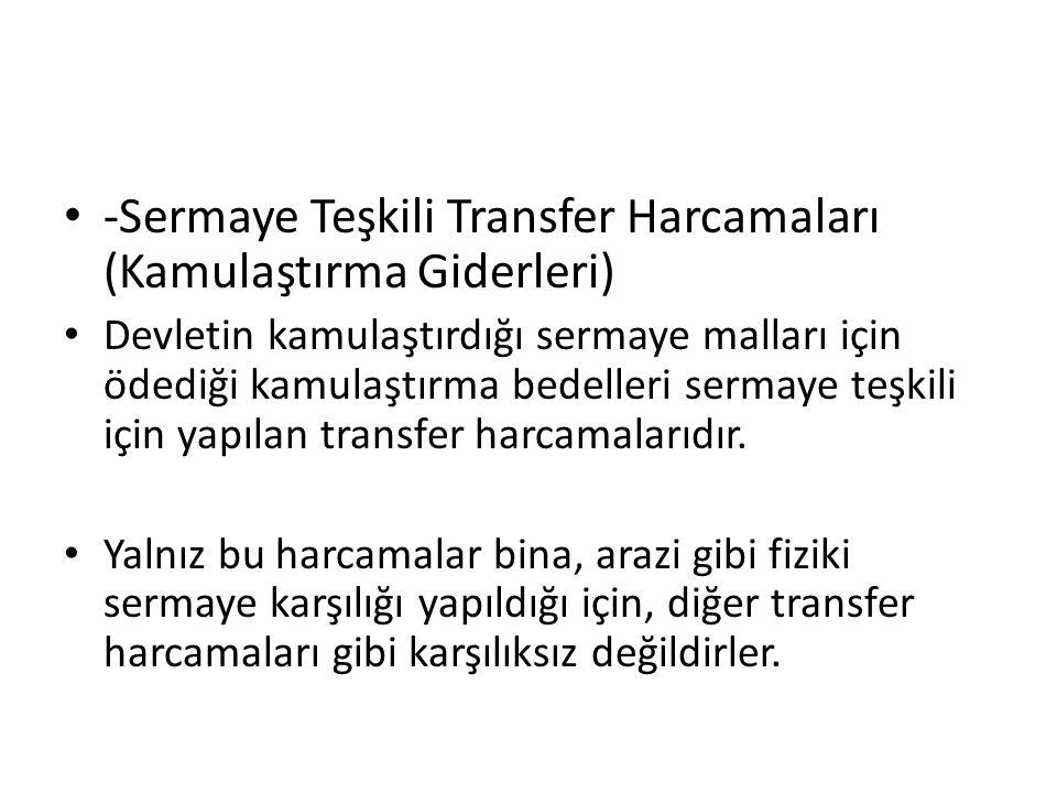-Sermaye Teşkili Transfer Harcamaları (Kamulaştırma Giderleri)
