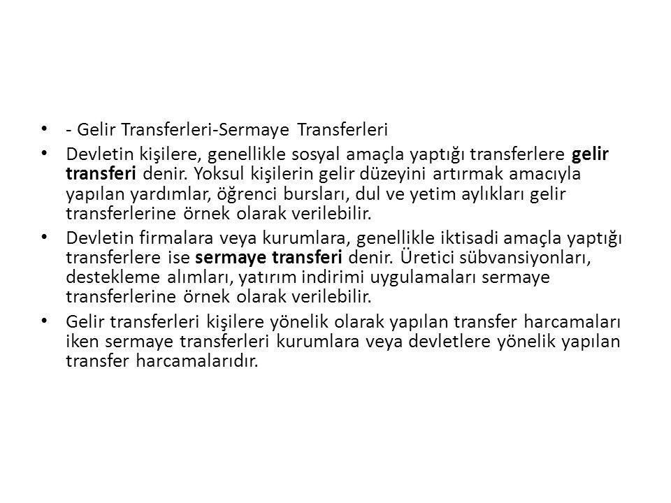 - Gelir Transferleri-Sermaye Transferleri