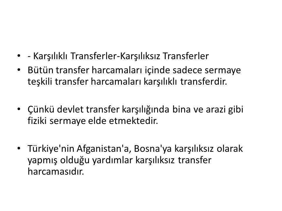 - Karşılıklı Transferler-Karşılıksız Transferler