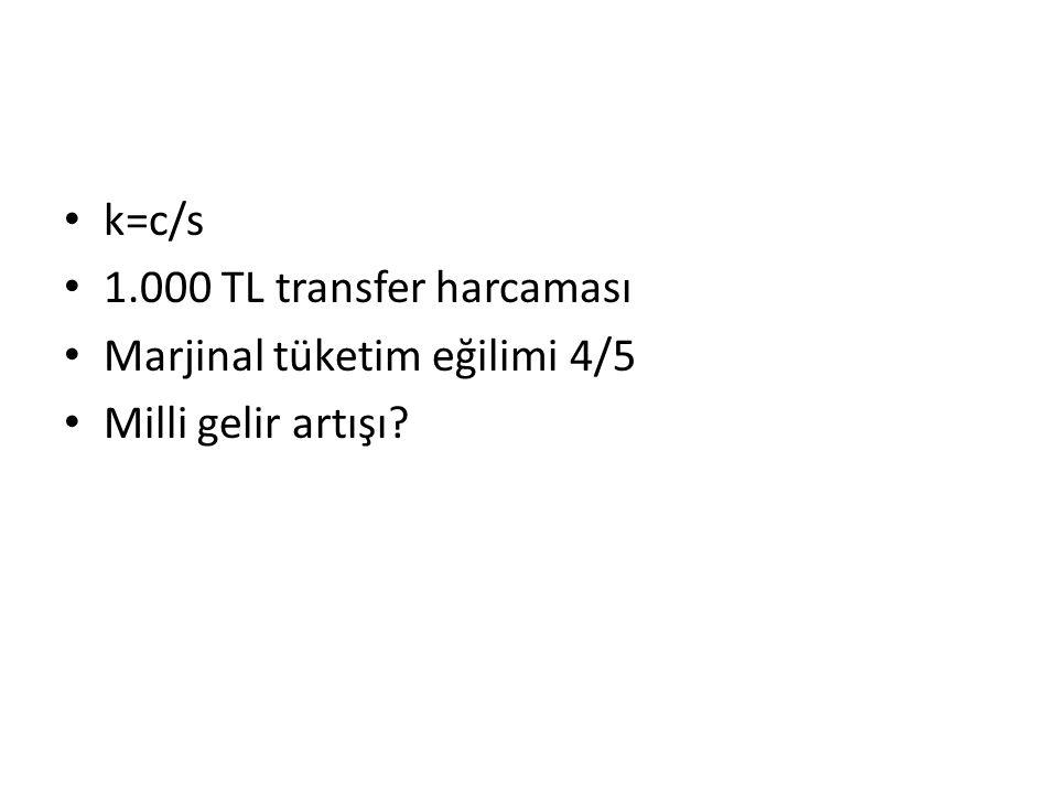 k=c/s 1.000 TL transfer harcaması Marjinal tüketim eğilimi 4/5 Milli gelir artışı